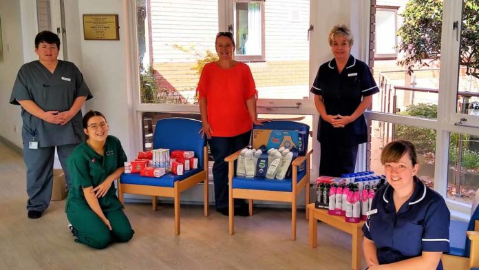 Coleg Cambria staff donate hundreds of toiletry products to hospitals