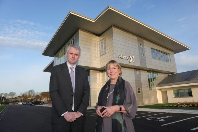 CEO of Fexco, Denis McCarthy pictured with Enterprise Chief Executive, Julie Sinnamon at the new Fexco RDI Hub and R&D facility in Killorglin Co. Kerry