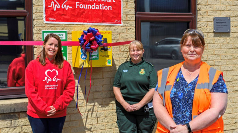 Siddall & Hilton team raises £4,500 for British Heart Foundation and donates a defibrillator to Brighouse